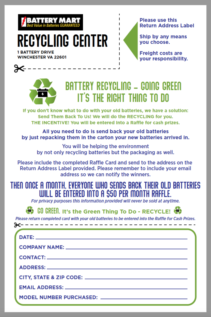 Battery Recycling and Raffle Form